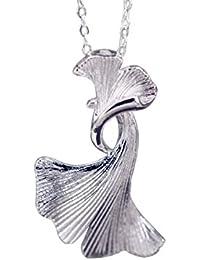 f4a32cd4dc48 NicoWerk Silberkette mit Anhänger Ginkgo-Blatt Ginko Blatt Natur Halskette  Damen 925 Silber Kette Schmuck…