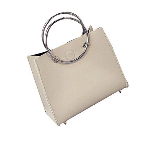 Zolimx Mode Frauen Leder Band Handtasche einzelner Schulter Beutel + Clutch Bag (Grau) (Stil-laptop-hülse)