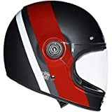 Royal Enfield HEAW17034 True Stripes Drifter Helmet (Grey and Red, XL)