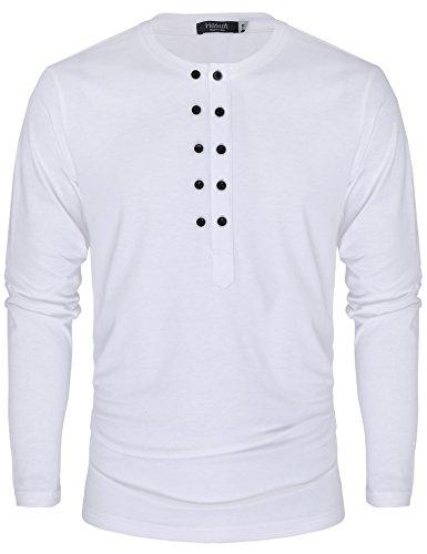 Hasuit Herren T-Shirt Slim Fit Langarm Freizeit Weiß