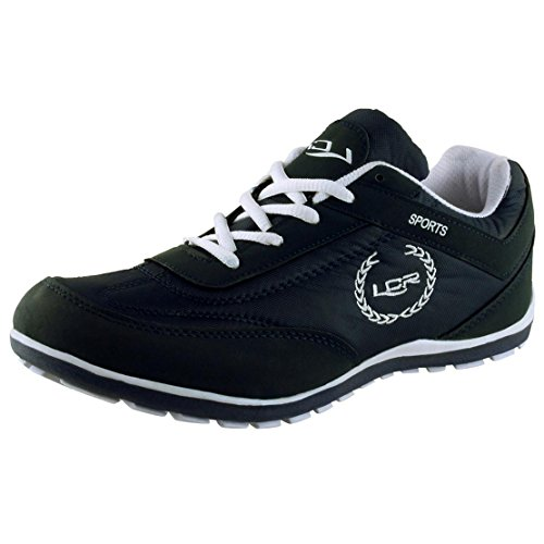 Lancer Men's Black and White Mesh Running Shoes