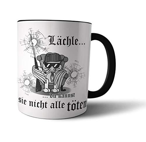 Geschenkedirekt Lustige FUN Tasse mit Vogel OSKAR als Mafiosi - Lächle Du kannst Sie nicht alle töten -