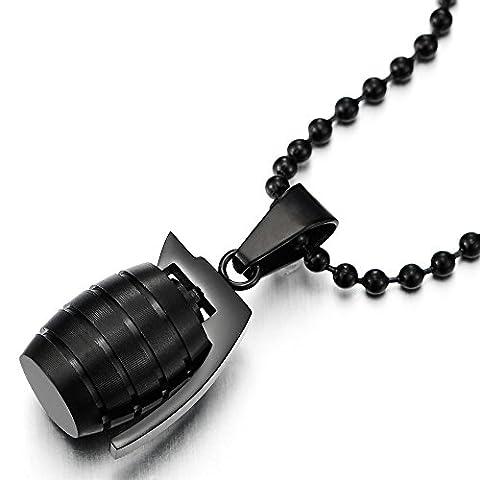 Mat Noir Grenade Pendentif Collier Homme Garçons - Acier Inoxydable avec 60CM Chaîne de Boule