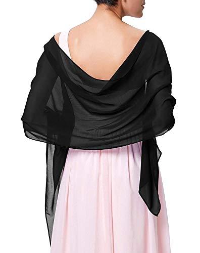 CoCogirls Chiffon Stola Schal für Kleider in verschiedenen Farben zu jedem Brautkleid - Abendkleid, Hochzeit Abend Gala Empfang (One-Size, Black 1)