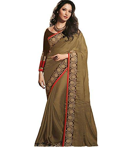 Adorn fashion Tamanna Bhatia Brown Green Chiffon Designer Saree  available at amazon for Rs.1375