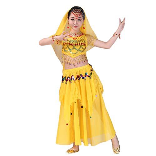 Lvguang Mädchen Bauchtanz Set Tanz Kurzarm Top & Mädchen Einfarbig Tanz Langer Rock & Kopf Kette & Tanzschleier (Gelb, Asia - Kostüm Aller Nationen