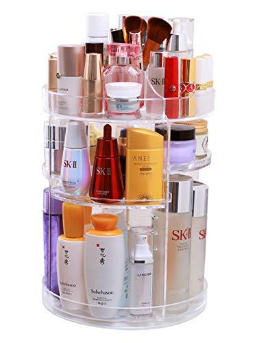 Kitrack Rotierende Kosmetische Make-up Veranstalter Aufbewahrungsbox Schminktisch Regal Acryl Desktop Transparent