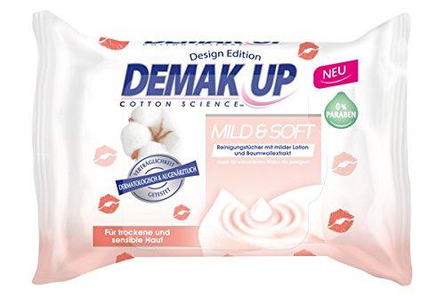 Demak\'Up Mild und Soft Reinigungstücher, Abschminktücher für sensible und trockene Haut, 1 x 25 Tücher