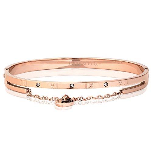 ZSML Rose Armband Damen Herz geformte Armbänder Edelstahl römische Ziffern Bangen-Wrist Band in Geschenkbox,Rosegold