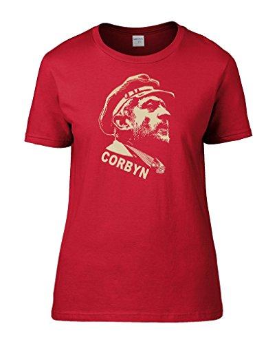 FatCuckoo Jeremy Corbyn Lenin Stil Sowjetischen Leinwanddruck Cool Sozialistische Print Frauen T-Shirt von Gr. Medium, Rot