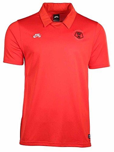 Nike Men's Dri-Fit SB Jersey Skateboarding Collar Shirt-Red (Nike Dri-fit-pull)