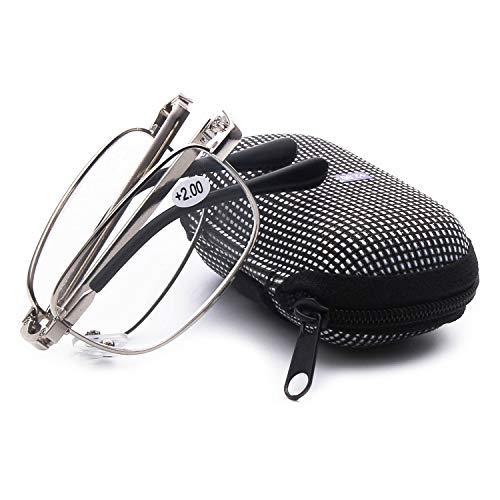 BestWahl Damen Herren Faltlesebrille Metall Lesebrille Lesebrillen Augen Brille faltbare Brillen Augenoptik Sehhilfe Lesehilfe Sehstärke mit Etui (Silber, 2.0)