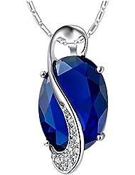 nykkola Beautiful Jewelry–Pendientes de plata de ley 925bañado Classic Diamond Crystal Gem collar cadena Regalo de Navidad