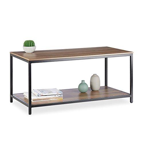 Relaxdays Couchtisch Melamin, 2 Ablagen, Niedrig, Tischplatte aus Melamin, Metallgestell, HBT 46x100x50cm, Schwarz/Braun