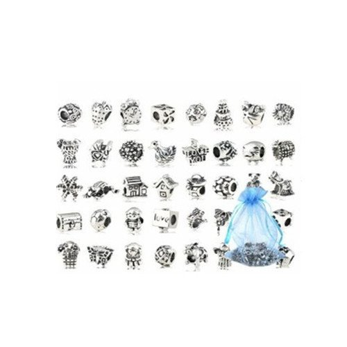 40 Stück Tibetische Silber Legierung Mixed ModelsBeads Charms Set - Kompatibel mit Pandora Biagi Chamilia Armband Troll