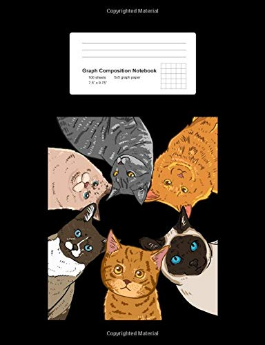Graph Composition Notebook: Math, Physics, Science Exercise Book - Sitting Cats Looking Down Circle Cute Kitty Lover Girls Gift - Black 5x5 Graph ... Teens, Boys, Girls - 7.5