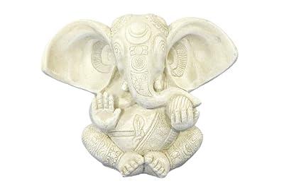 Jänig 08450 Ganesha, sitzend, Höhe 12 cm, antikweiß von Jänig - Du und dein Garten