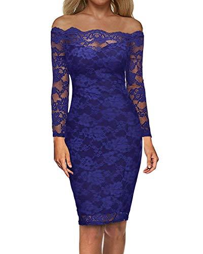 Auxo Damen Langarm Kleider mit Spitze Schulterfreie Elegant Knielang Abend Etuikleid Blau EU 40/Etikettgröße L