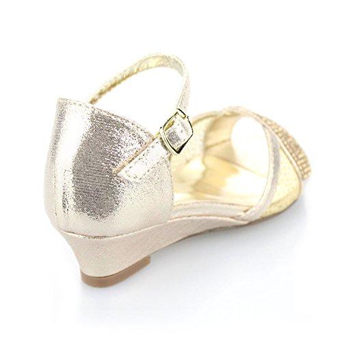 Aarz Filles Enfants Enfants Soirée Wedge Heel Diamante Sandales de soirée de mariage chaussures Taille (Or, Argent, Champagne) Or
