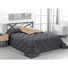 Sabanalia - Edredón nórdico de 400 g , bicolor, cama de 180 cm, color arena y gris