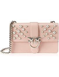 15824cbd7e Pinko Love Leather Pearls Tracolla Vitello Vintage+Perle, Borsa a Spalla  Donna, 8x20x28
