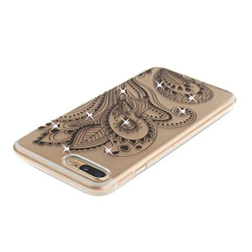 iPhone 7 Plus Hülle Glitter mit Strass Diamanten, iPhone 7 Plus Hülle Glitzer, iPhone 7 Plus Back Case, iPhone 7 Plus Bumper, Moon mood® Kristall Sparkle Schutzhülle für Apple iPhone 7 Plus 5.5 Zoll,  Pfau Blume