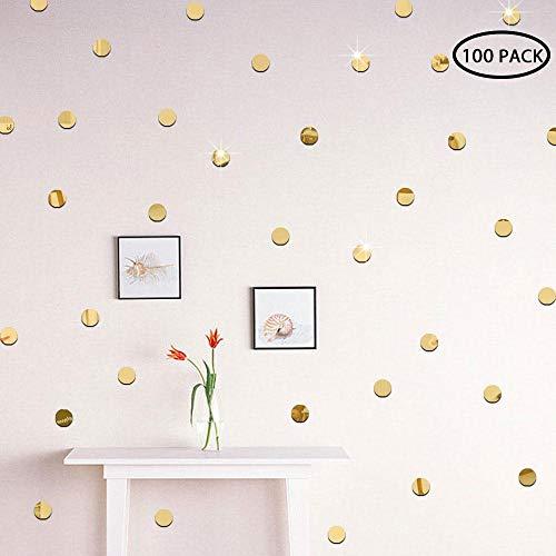 KOBWA Gold Wall Decal Punkte Einfach zu schälen Leicht zu Stick Metallic Vinyl Polka Dot Dekor - Runde Kreis Kunst Glitter Aufkleber sicher für Wandfarbe (Gold, 2CM x 100 Stück) (Gold-metallic-wandfarbe)