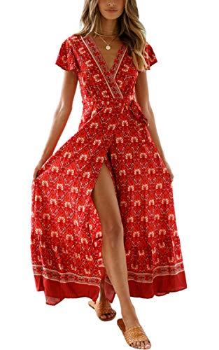 Kurze Abschlussball-partei-kleid (ECOWISH Damen Kleider Boho Sommerkleid V-Ausschnitt Maxikleid Kurzarm Strandkleid Lang mit Schlitz Weinrot L)