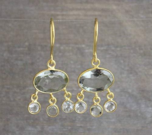 Grüner Amethyst vergoldet Sterling Silber Ohrringe