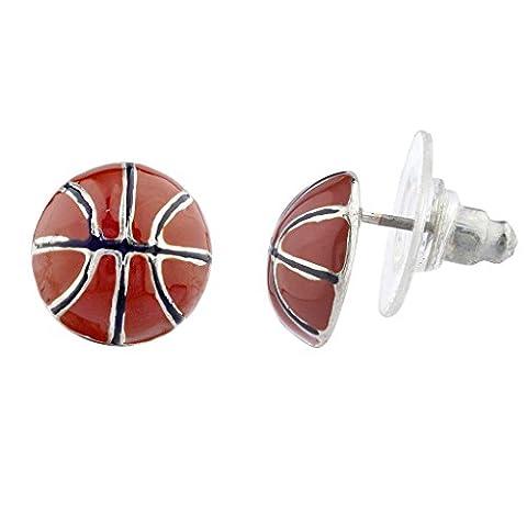 Lux Accessoires Argenté Marron émail Sports Basketball fantaisie Post Boucles d'oreilles