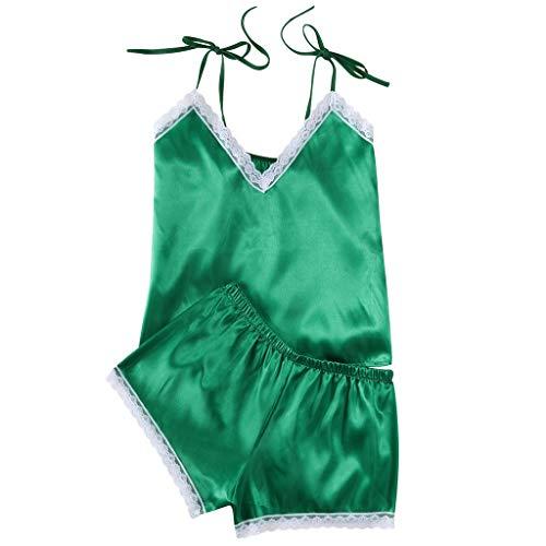 Bibao Damen Babydoll-Pyjama Set Slip Satin Weich Nachtwäsche Spitze Dessous Nachtwäsche Unterwäsche Seide Glatt Nighty -