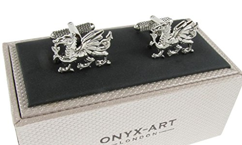 Welsh Dragon Cufflinks - Available in Silver Colour or Gold Colour