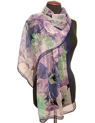 Nella-Mode Wunderschöner SEIDENSCHAL in floralem Design - Schal aus 100% Seide, ca. 170x53 cm; - Grün oder Rotorange oder Flieder / Blau