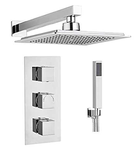 Square Concealed Thermostatic Shower Mixer Valve 3 Handle 2 Way