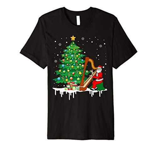 Weihnachtsmann, der Harfen-lustiges T-Shirt spielt