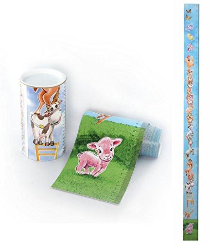 Messlatte Tiere / Bauernhof als Massband lustig für Tür, Türrahmen oder Messskala Kinder für die Wand von 0 cm bis fast 2m die Körpergröße messen. Messleiste für Kinder - Mädchen und Jungen, 1 Stück. (Motiv Tiere / Bauernhof).