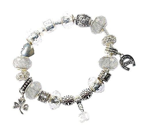Ladies 30th Birthday Gift Box Silver Charm Bracelet Card Set