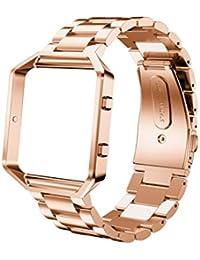 Malloom Reloj de acero inoxidable correa de la venda + Marco del metal para Fitbit Blaze reloj (rosa oro)