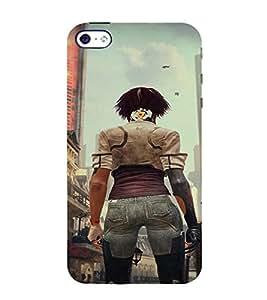 PrintVisa Fighter Girl Art 3D Hard Polycarbonate Designer Back Case Cover for Apple iPhone 4 :: 4S