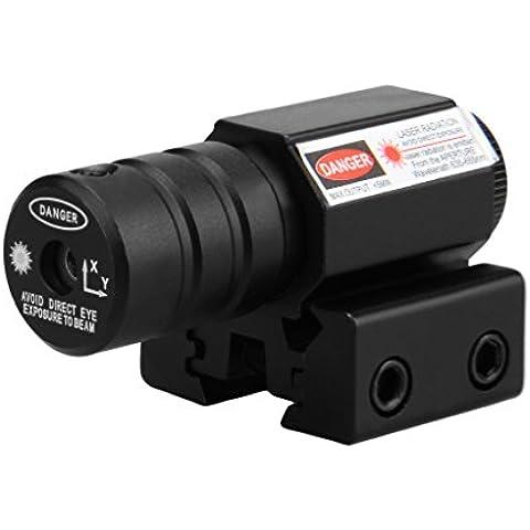 Mira telescópica Alcance (AT punto rojo, Láser rojo, Visual punto + soporte 11 y 20mm, Alta Precisión y Porcentaje de Acierto), Negro