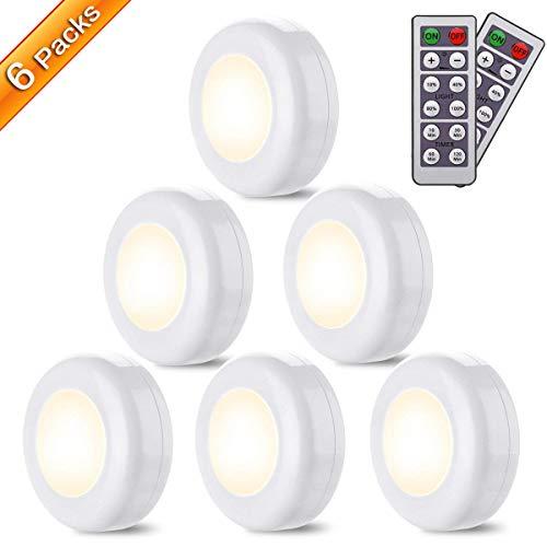 Luz Nocturna LED con Control Remoto,Elfeland 6 Luces de Armario Inalámbrica Luz Nocturnas Infantil Luz LED Nocturna con Pilas Lámparas de Armario (4000 K,40 LM, 0.6 W) (Sin Pilas)