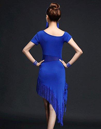NiSeng Donne gonne latine costumi Abito Tango Rumba Valzer Salsa Costume Zaffiro