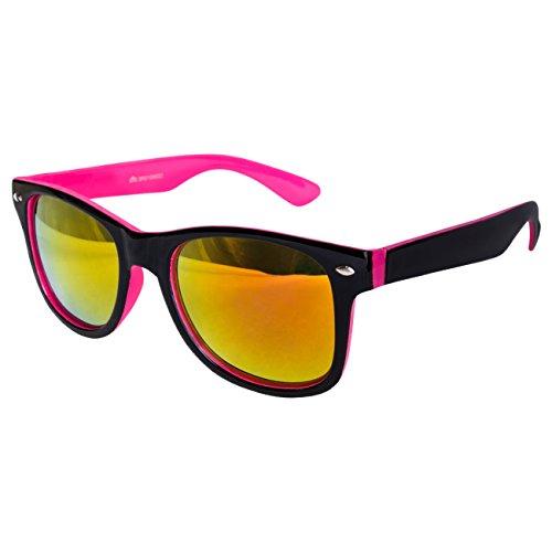 Ciffre EL-Sunprotect® Sonnenbrille Nerdbrille Brille Nerd Feuer Verspiegelt Schwarz Pink UV400