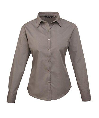 Donna manica lunga popeline camicia Grigio scuro