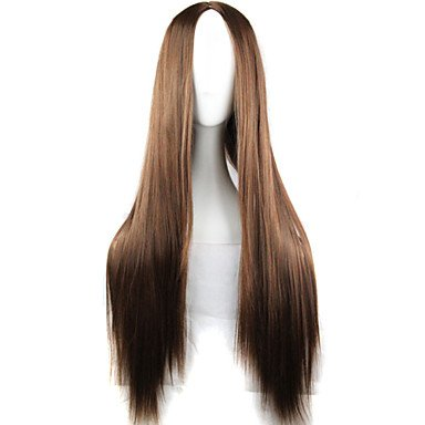 HJL-nouvelle exclusion anime cosplay longs cheveux bruns perruque 80cm droite , brown
