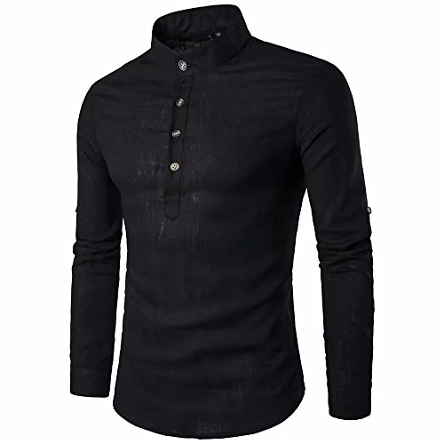 Doublehero Herren Langarm Freizeit Hemd,Mode Business Party Shirt Poloshirts Männer Langarmshirt Einfarbig Tageslook Leinen Shirts Tops Bluse