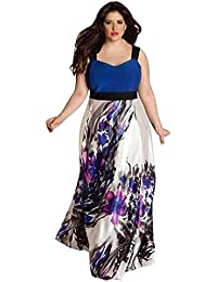 59dce294addc2 LONUPAZZ Robe Floral Longue Femme Grande Taille Sans Manches Robe De Soiree