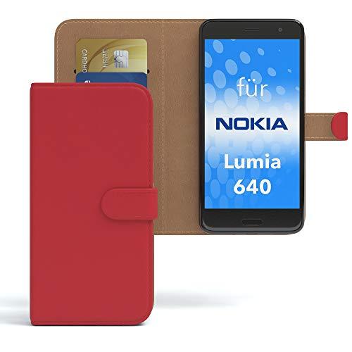 EAZY CASE Hülle für Nokia Lumia 640 Dual SIM Bookstyle mit Standfunktion, Book-Style Case aufklappbar, Schutzhülle, Flipcase, Flipstyle, Flipcover mit 2 Kartenfächern aus Kunstleder, Rot
