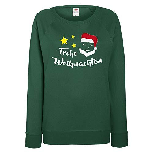 Shirt-Panda Damen Sweatshirt Frohe Weihnachten Weihnachtsmann Dunkelgrün S