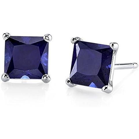 Oro blanco de 14quilates corte princesa 2,75Quilates Creado Azul Sapphire Pendientes de tuerca